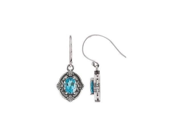Genuine Sterling Silver Swiss Blue Topaz Earrings