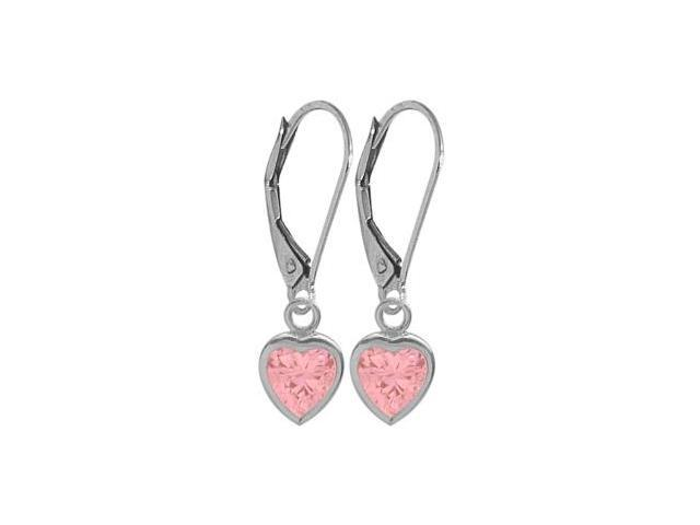 10 Karat White Gold Created 2.60tcw. Tourmaline Pink Heart Leverback Earrings