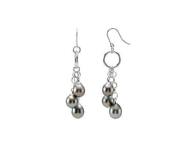 Genuine Sterling Silver Tahitian Grey Pearl Drop Earrings