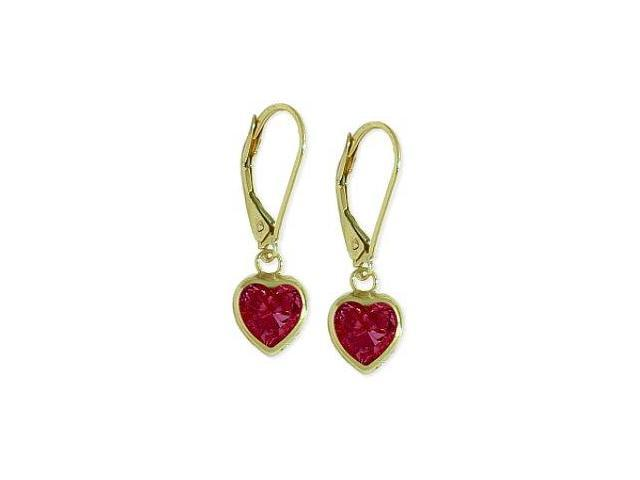 10 Karat Yellow Gold 1.80 CT. Created Ruby Heart Leverback Earrings