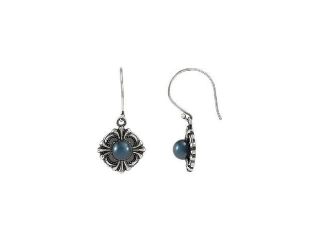 Genuine Sterling Silver Victorian Black Pearl Earrings