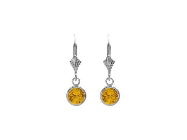 Sterling Silver 1.60 Carat 6mm Created Yellow Topaz Round Leverback Earrings