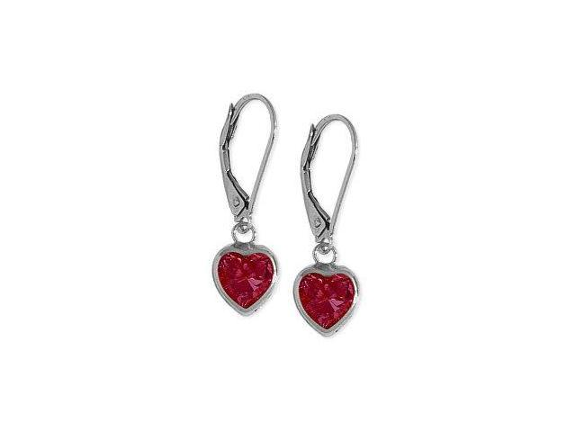 10 Karat White Gold 1.80 CT. Created Ruby Heart Leverback Earrings