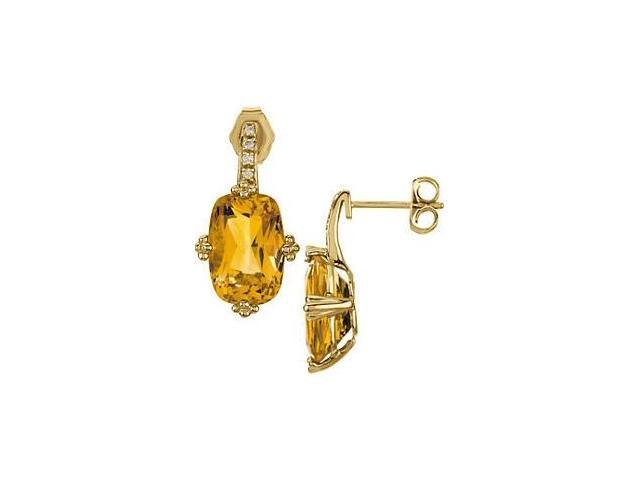 14 Karat Yellow Gold Diamond and Genuine Citrine Earrings