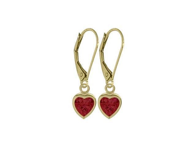 July 1.80 Carat Created Ruby Yellow 14 Karat Gold Heart Leverback Earrings