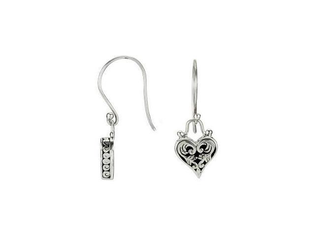 Genuine Sterling Silver Heart Dangle Earrings