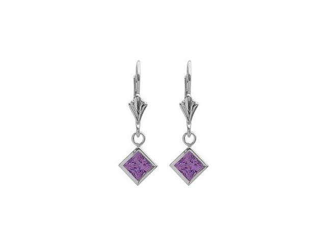 Sterling Silver 1.20 Carat Princess Cut Square 5mm Genuine Amethyst Leverback Earrings