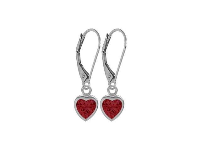 July 1.80 Carat Created Ruby White 14 Karat Gold Heart Leverback Earrings