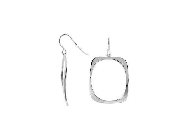 Ladies Genuine Sterling Silver Square Drop Style Earrings