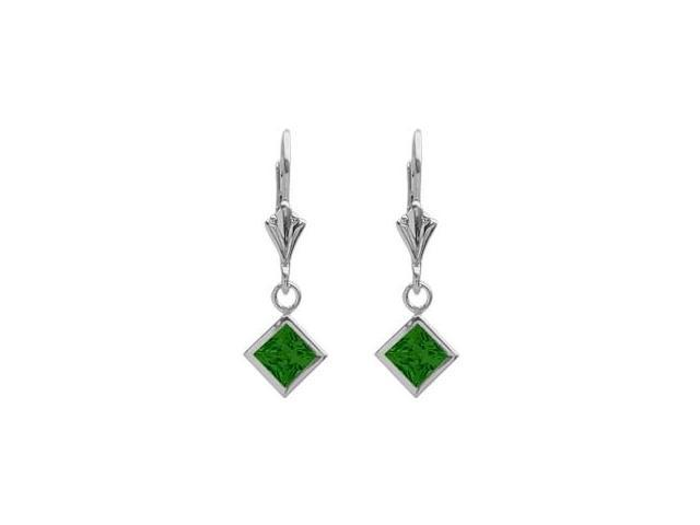 Sterling Silver 1.10 Carat Princess Cut Square 5mm Created Emerald Leverback Earrings