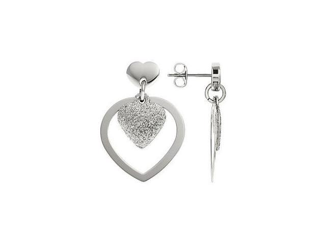 Stainless Steel Glitter Heart Drop Earrings