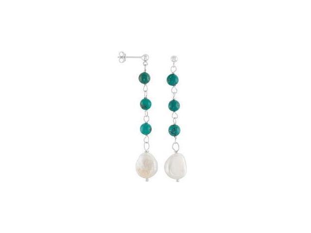 Genuine Sterling Silver Pearl & Turquoise Earrings
