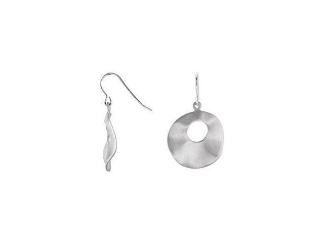 Genuine Sterling Silver Round Dangle Hoop Earrings
