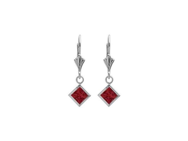 Sterling Silver 1.60 Carat Princess Cut Square 5mm Created Ruby Leverback Earrings
