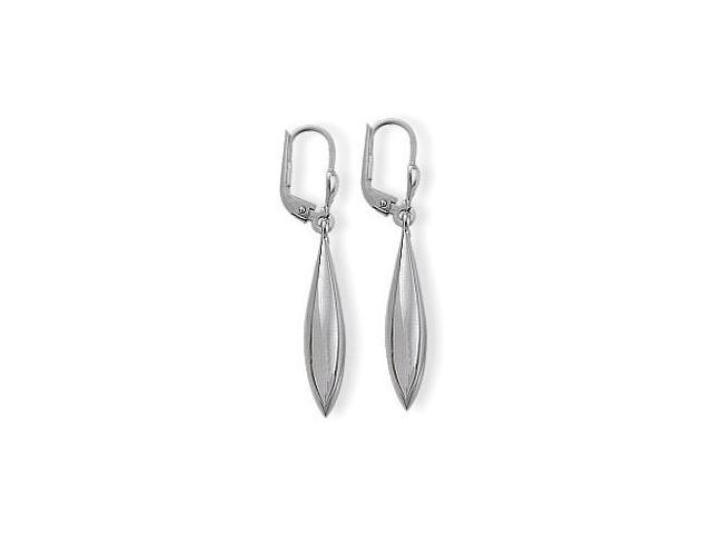 Ladies White Gold Domed Drop Style Leverback Earrings