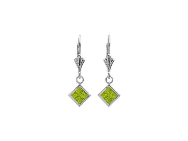 Sterling Silver 1.30 Carat Princess Cut Square 5mm Genuine Peridot Leverback Earrings