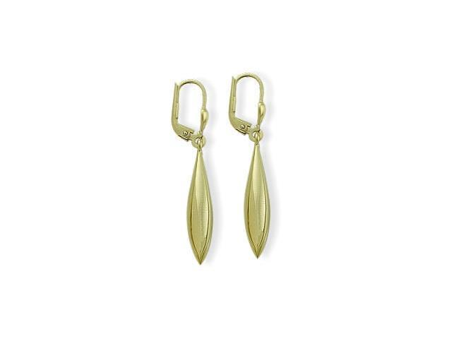 Ladies Yellow Gold Domed Drop Style Leverback Earrings