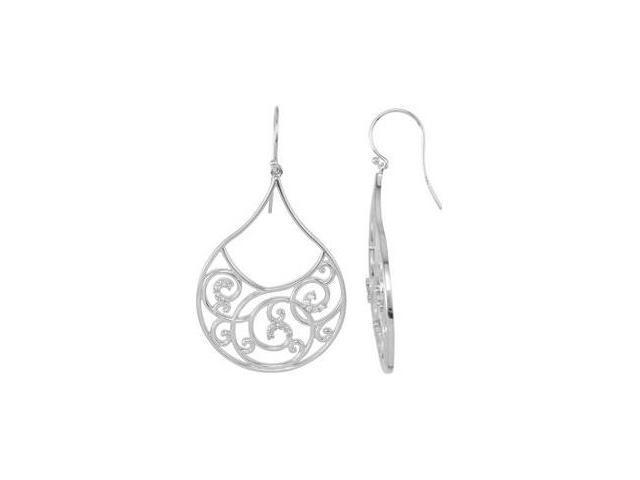 Genuine Sterling Silver Diamond Dangle Earrings