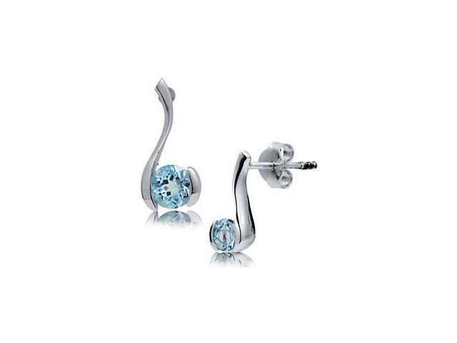 Sterling Silver Genuine Blue Topaz Stud Earrings