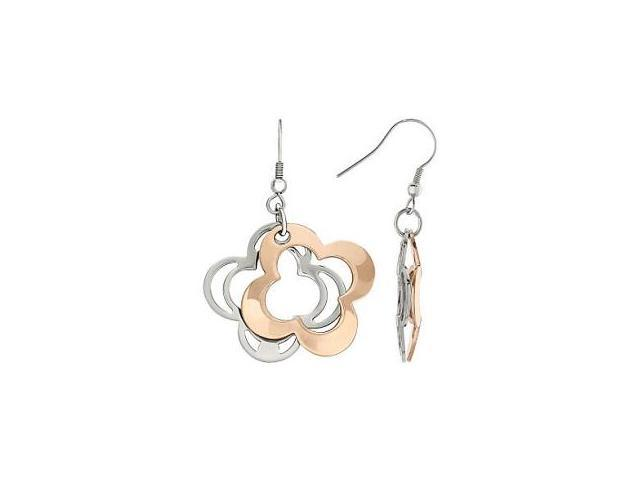 Two-Tone Stainless Steel Clover Earrings