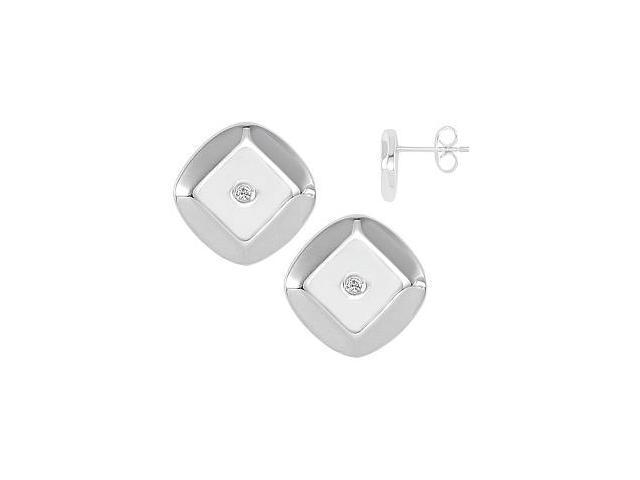 Genuine Sterling Silver Diamond Stud Earrings