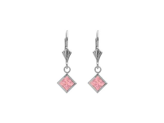 Sterling Silver 2.00 Carat Princess Cut Square 5mm Created Pink Tourmaline Leverback Earrings