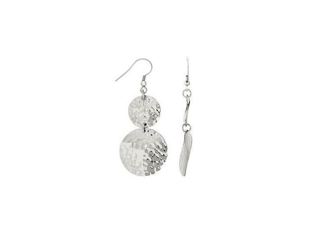 Hammered Stainless Steel Circle Drop Earrings