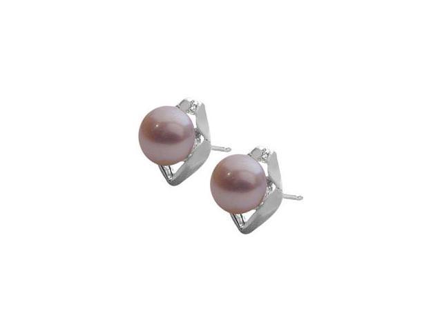 Genuine Sterling Silver Purple Freshwater Pearl Earrings