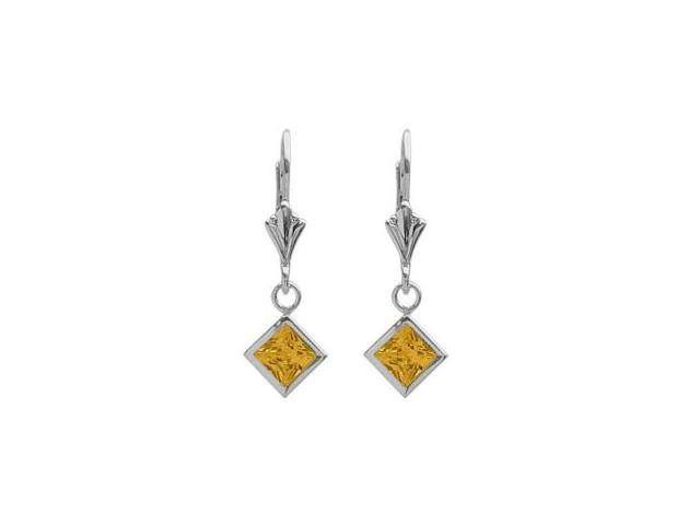 Sterling Silver 1.20 Carat Princess Cut Square 5mm Genuine Citrine Leverback Earrings