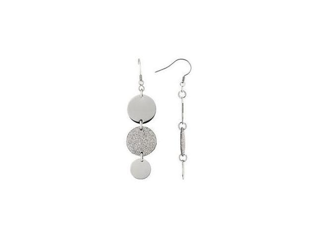 Stainless Steel Glitter Tri-Cricle Drop Earrings
