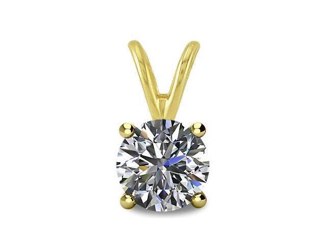 0.40tcw 14 Karat Yellow Gold Round Brilliant Cut Certified I2, JK Diamond Pendant with 18 Inch chain