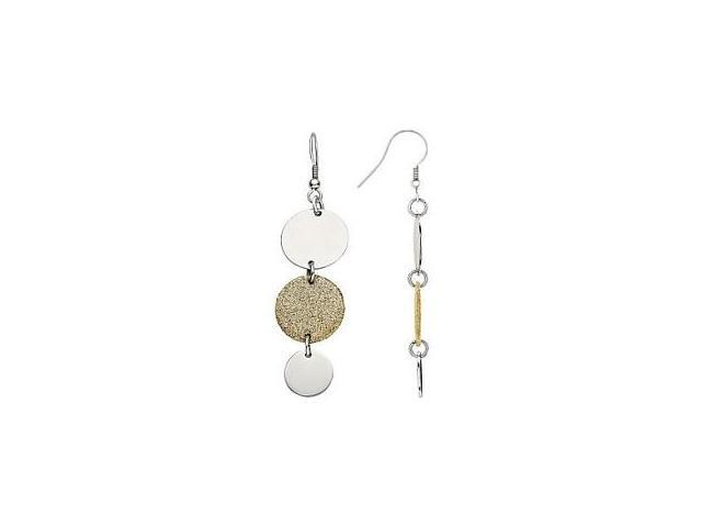 Stainless Steel Gold Glitter Cricle Drop Earring