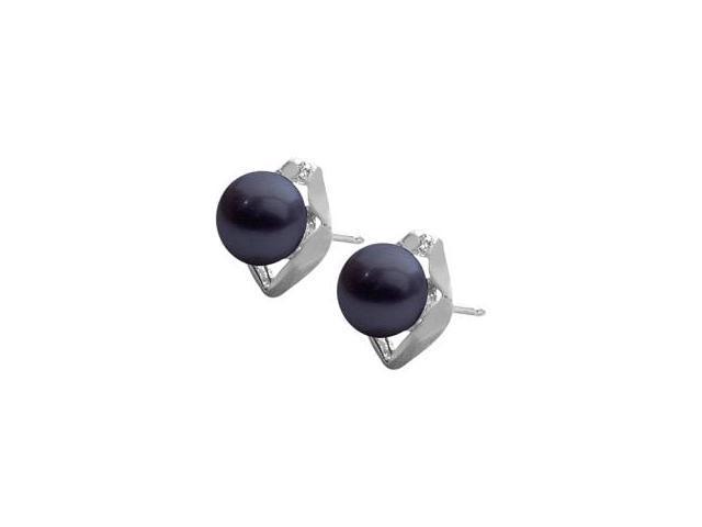 Genuine Sterling Silver Black Freshwater Pearl Earrings