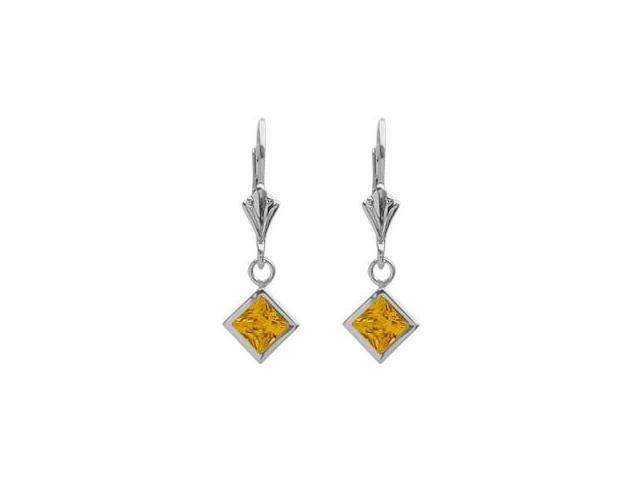 Sterling Silver 2.00 Carat Princess Cut Square 5mm Created Yellow Topaz Leverback Earrings