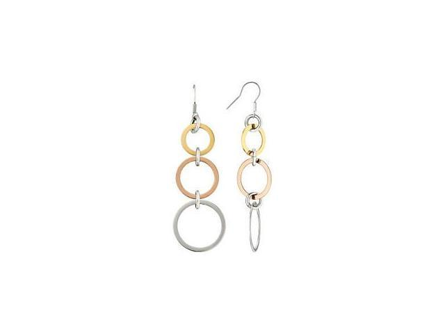 Stainless Steel Tri-Color Circle Drop Earrings