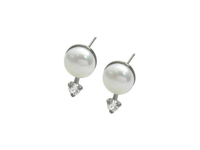 Genuine Sterling Silver 7mm Freshwater Accent Pearl Earrings