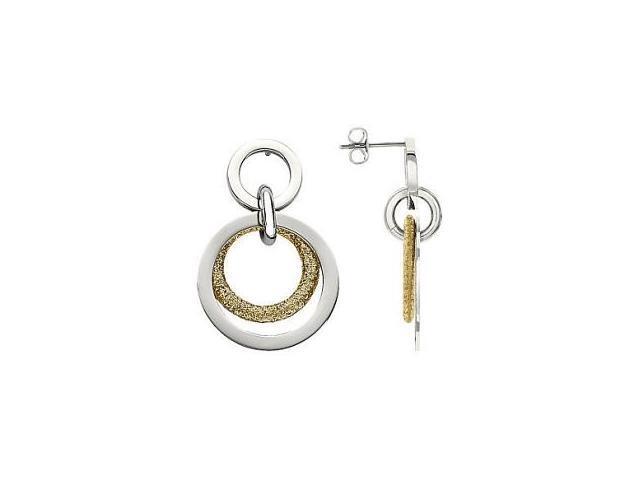 Stainless Steel Gold Glitter Multi Circle Earrings