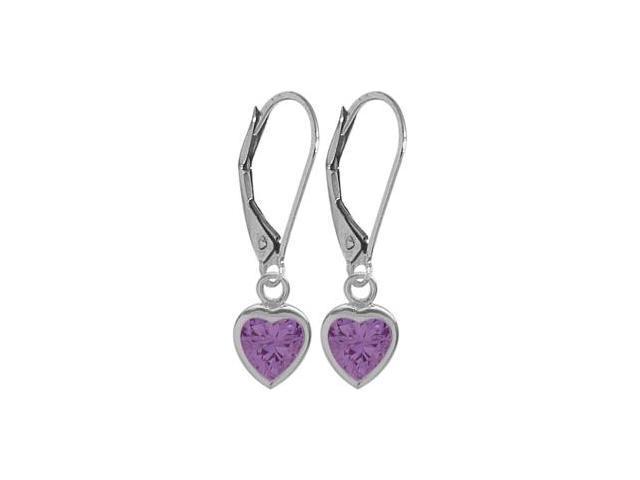 February 1.40 Carat Genuine Amethyst White 14 Karat Gold Heart Leverback Earrings