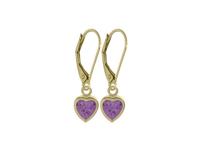 February 1.40 Carat Genuine Amethyst Yellow 14 Karat Gold Heart Leverback Earrings