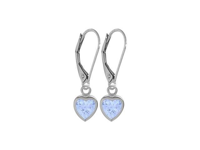 March 1.70 Carat Created Aquamarine White 14 Karat Gold Heart Leverback Earrings