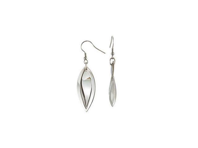 Stainless Steel Leaf-Style Twist Drop Earrings