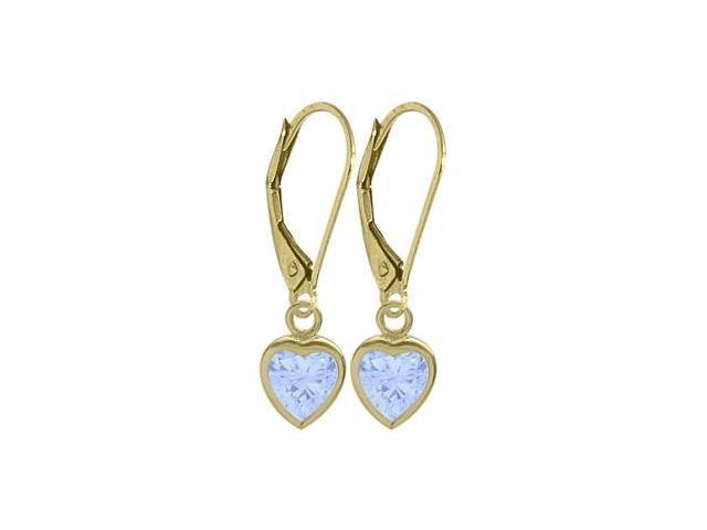 March 1.70 Carat Created Aquamarine Yellow 14 Karat Gold Heart Leverback Earrings