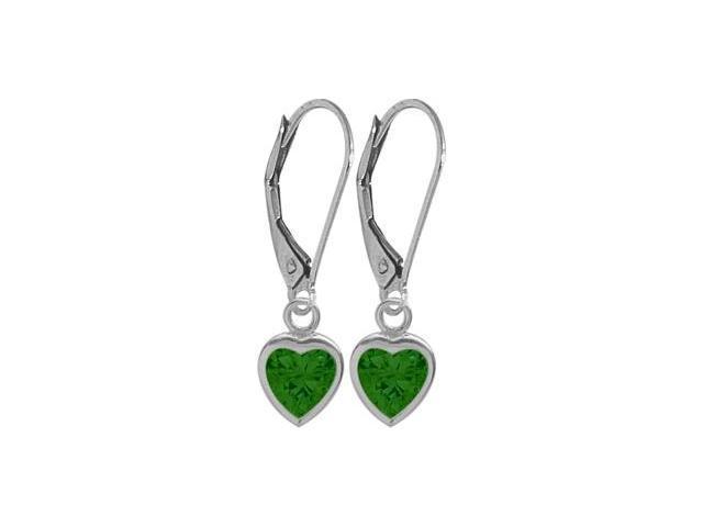 May 1.50 Carat Created Emerald White 14 Karat Gold Heart Leverback Earrings