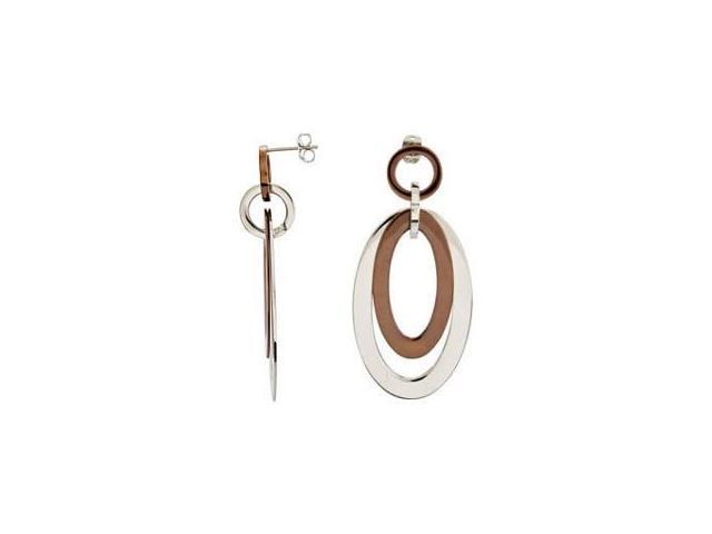 Stainless Steel Chocolate Plated Oval Earrings