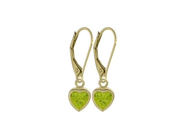 August 1.50 Carat Genuine Peridot Yellow 14 Karat Gold Heart Leverback Earrings