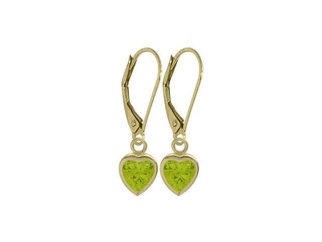 August 1.50 Carat Genuine Peridot Yellow 14 Karat Gold Heart Leverback Earrings