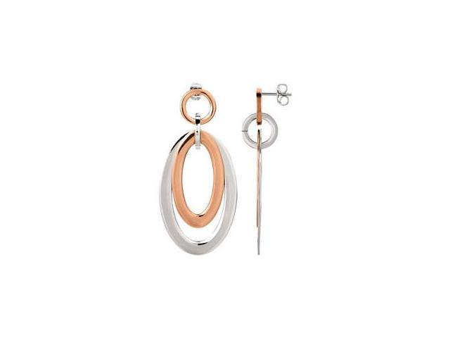 Rose Immerse Plated Stanless Steel Oval Earrings