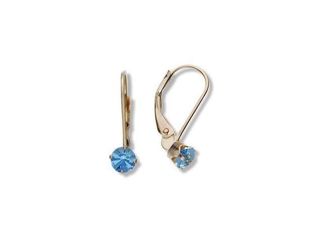 March 10 Karat Yellow Gold Created 0.50tcw. 4mm Aquamarine Leverback Gem Earrings