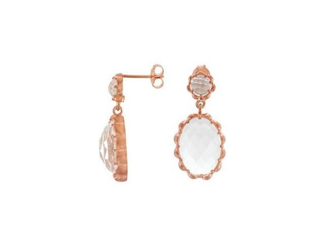 Genuine Sterling Silver Rose Plated Clear Quartz Earrings
