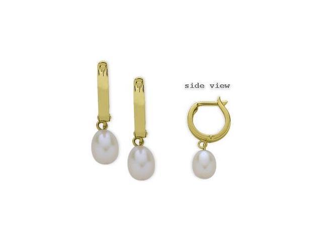 Yellow Gold 14 Karat Leverback Drop Style Pearl Earrings